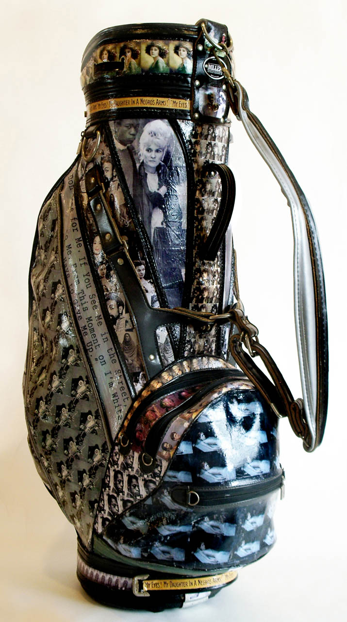 Saga Of The Mulatto, 2010, golf bag and collage